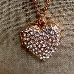 Rose gold tone heart locket.  Long chain.  Lipsy